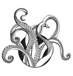 Tentacles line drawing vector