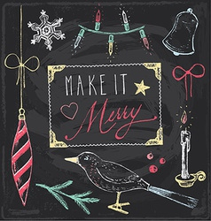 Vintage christmas chalkboard hand drawn set 5 vector