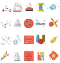 Flat icons collection of sewing items vector
