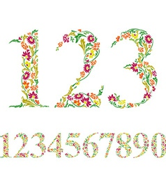 Floral numbers set vintage style numerals set vector