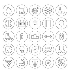 Line circle sport and fitness icons set vector