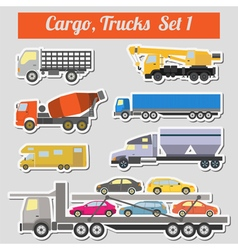 Set of elements cargo transportation trucks lorry vector