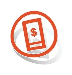 Dollar screen sign sticker orange vector