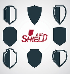 Collection of grayscale defense shields vector