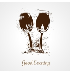 Pair of wine glasses vector