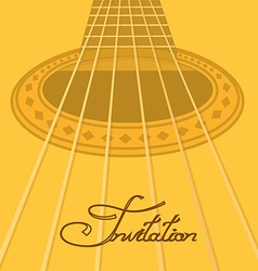 Music invitation with acoustic guitar vector