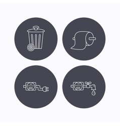 Trash bin electricity and water counter icons vector