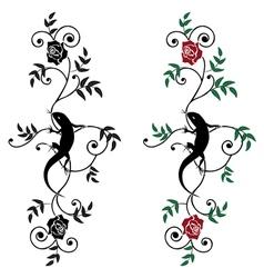 Lizard and rose set vector