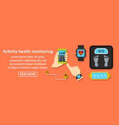 activity health monitoring banner horizontal vector image