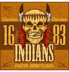 American native chief skull - vintage vesign vector image vector image