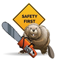 Beaver with a chainsaw vector