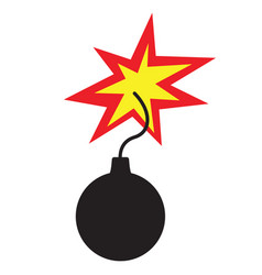 bomb icon flat style isolated on white vector image