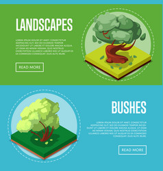 bushes and trees for park design posters vector image vector image