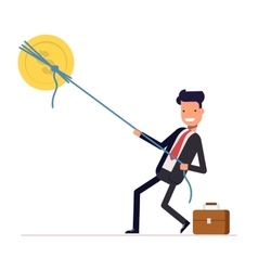 Businessman or manager pulling rope tied to a coin vector
