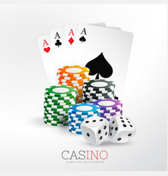 Casino playing cards and chips with dice vector