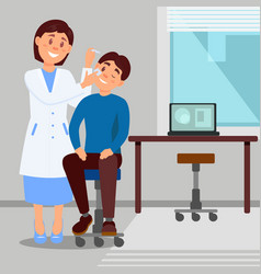 Doctor s office in clinic smiling woman treats eye vector