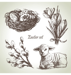 Easter set hand drawn sketch vector image