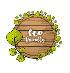 Eco emblem with leaves decoration design vector