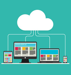 flat design cloud computing with devices elements vector image