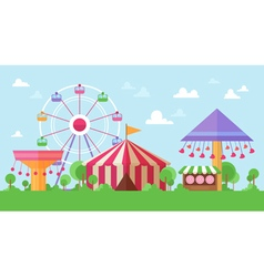 Flat Retro Funfair Scenery vector image