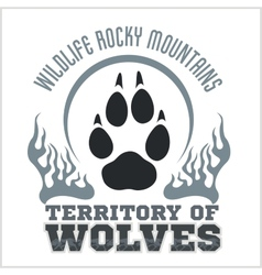 Footprint wolves emblem - dangerous territory vector