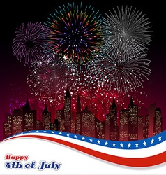 Happy 4th july independence day with fireworks vector