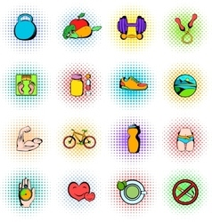Healthy lifestyle icons set vector image vector image