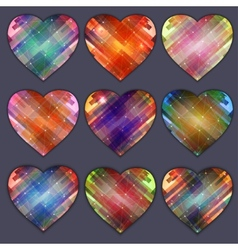 Heart icon with four color variations abstract vector