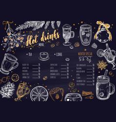 Hot drinks winter menu vector