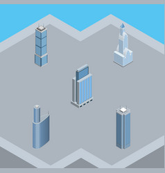 Isometric construction set of skyscraper building vector