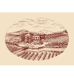 Italy Italian rural landscape Hand drawn sketch vector image vector image