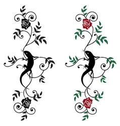 lizard and rose set vector image vector image