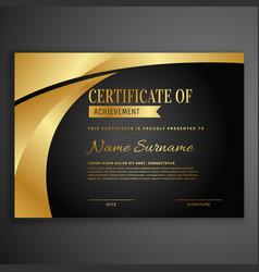 luxury dark certificate design template vector image vector image