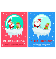 merry christmas santa trumpet vector image vector image
