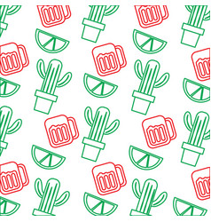 Mexican pot cactus drink and lime seamless pattern vector