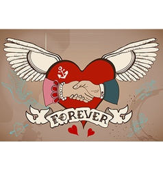 Old-school style tattoo card with heart man and vector image