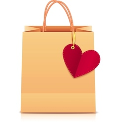 paper shopping bag with heart label vector image