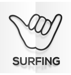 Paper silhouette black surfers shaka symbol with vector image