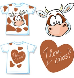 shirt with cute brown and white cow - vector image vector image