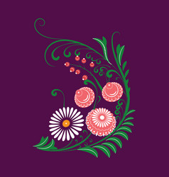 slavic folk traditional vegetable pattern corner vector image