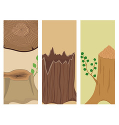Stacked wood pine timber banner for construction vector