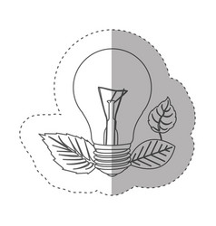 sticker with grayscale contour with light bulb and vector image vector image