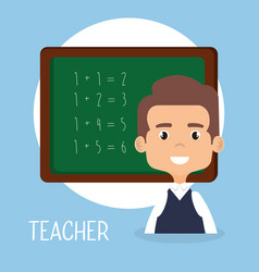 Teacher school with chalkboard avatar character vector