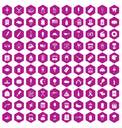 100 street food icons hexagon violet vector