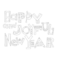 Black and white new year greetings for coloring vector