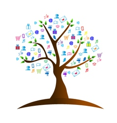 Tree and networking symbols vector image