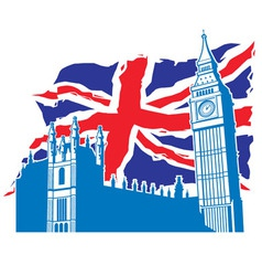 Big ben of london with union jack vector
