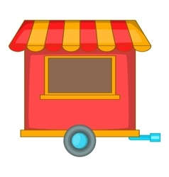 Street food trailer icon cartoon style vector