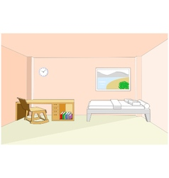 Bedroom interior with desk 3d vector