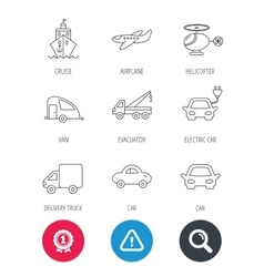 Transportation icons car ship and truck signs vector
